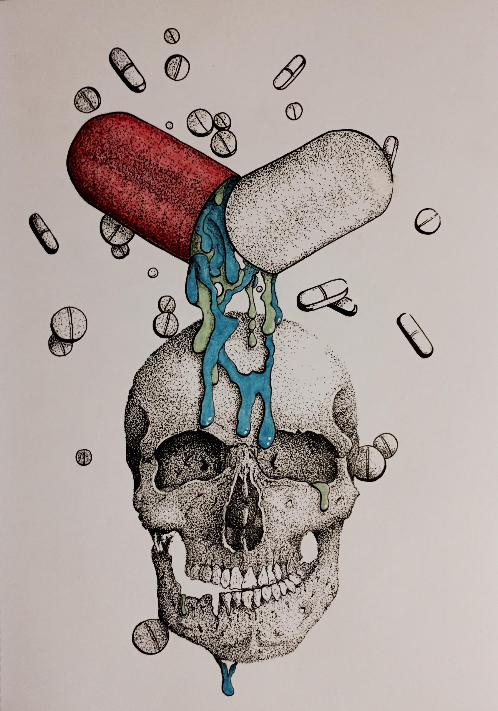 Drawn weed pill Art Surreal Pills Skull Illustration