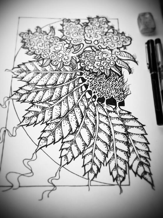 Drawn pot plant sketch  My leaf Sharpie creations