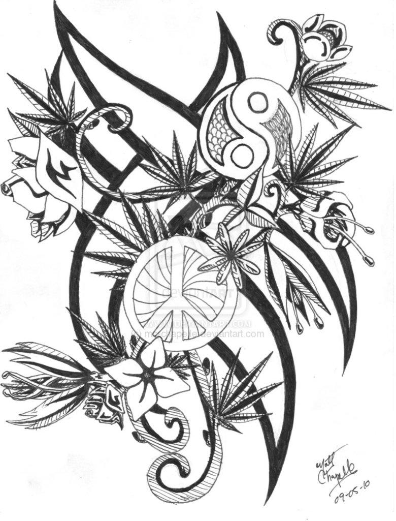 Drawn pot plant tribal Hippie Trippy Bing Jane