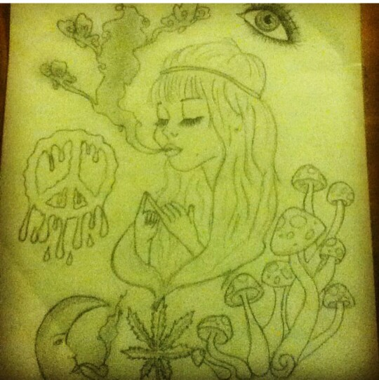 Drawn weed stoner chick And Stoner smooking moon hippie