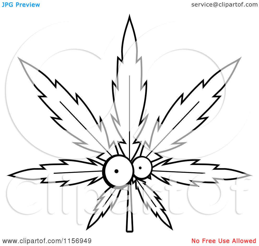 Drawn cannabis leaf stencil #5