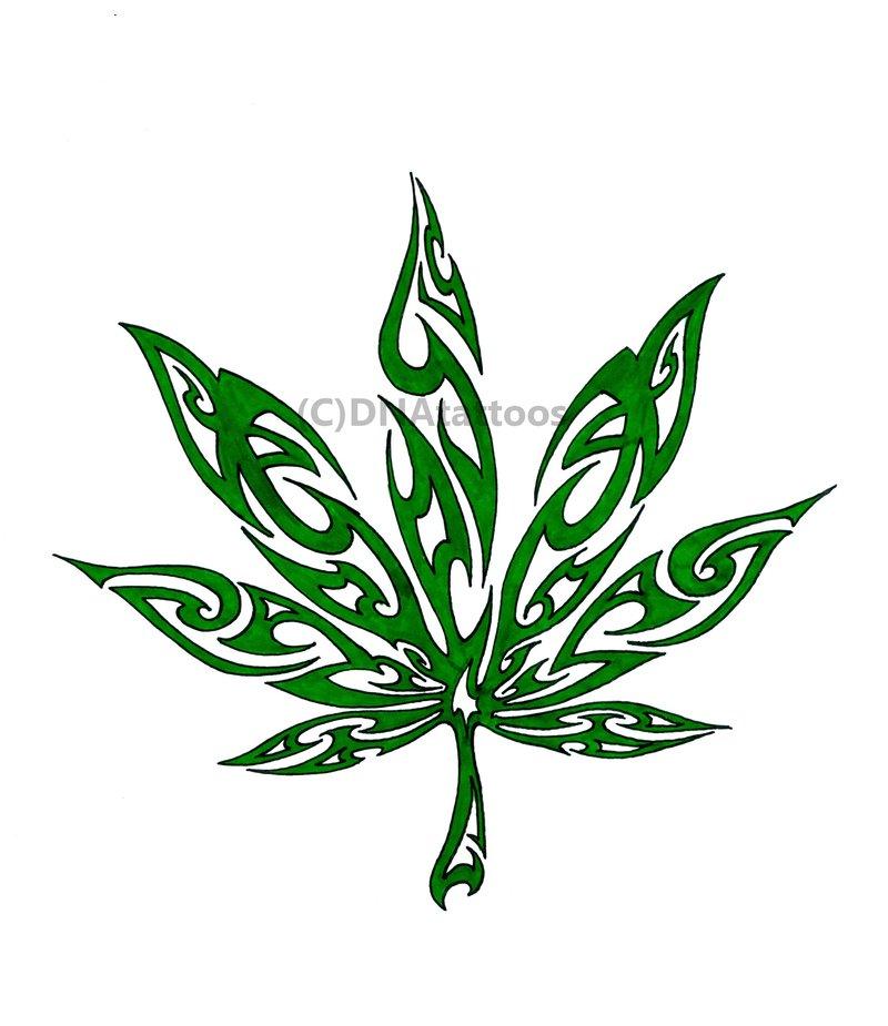 Drawn pot plant tribal  Weed weed rib Tattoo