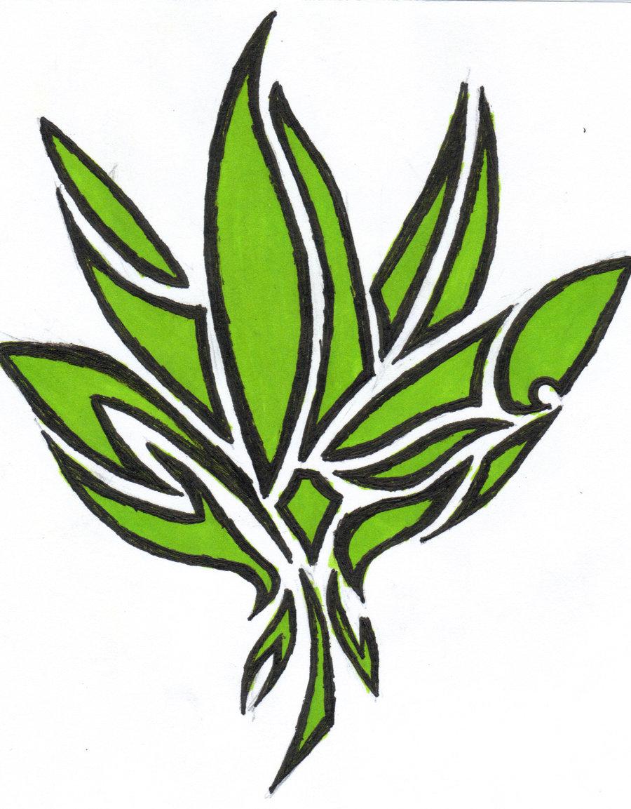 Drawn cannabis leaf stencil #7