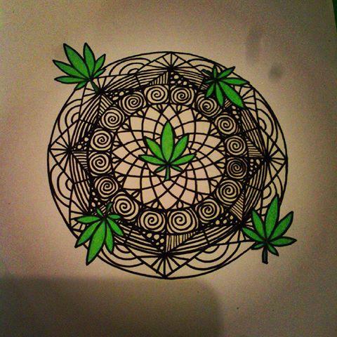 Drawn weed zentangle #mandala photos Instagram (@jasminepennytattoo) #mandala