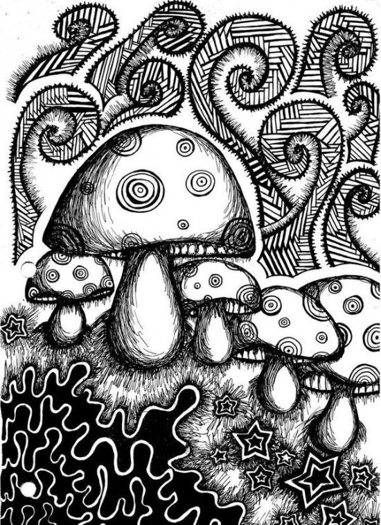 Drawn weed zentangle Picture 420/shrooms Pinterest Coloring best