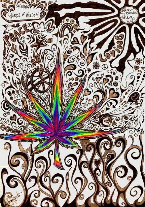 Drawn weed zentangle On Amazing Mandalas is
