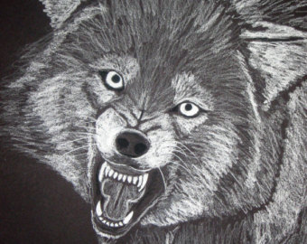 Drawn werewolf 28mm Etsy Angry print Angry 8x10