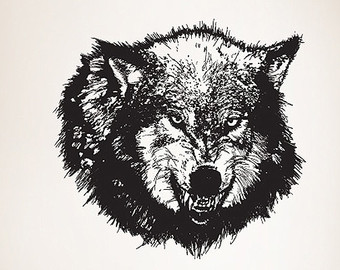 Drawn werewolf 28mm Sticker Vinyl Etsy wolf Decal