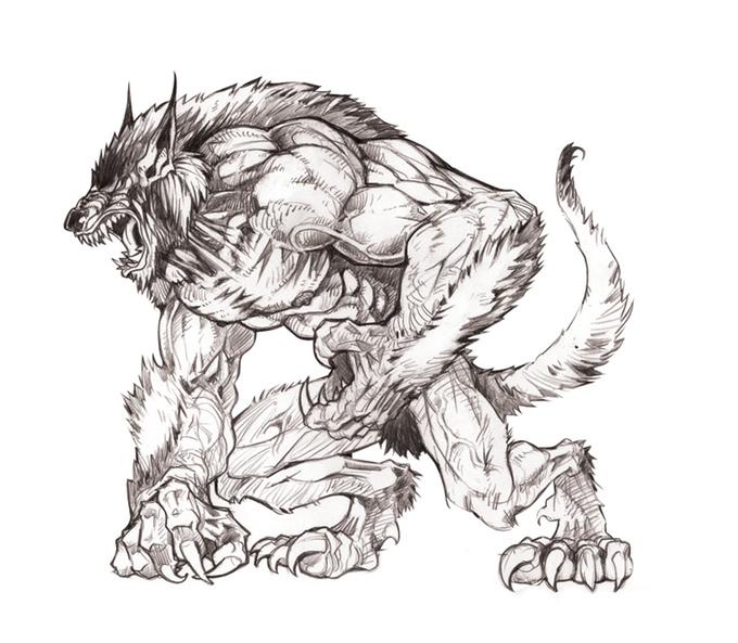 Drawn werewolf 28mm At the of 9094faa4ab49fe80f5f902a9a3c08401_original Minis