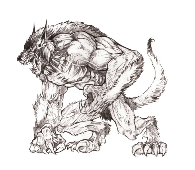 Drawn werewolf 28mm Of 9094faa4ab49fe80f5f902a9a3c08401_original Minis of Mountains