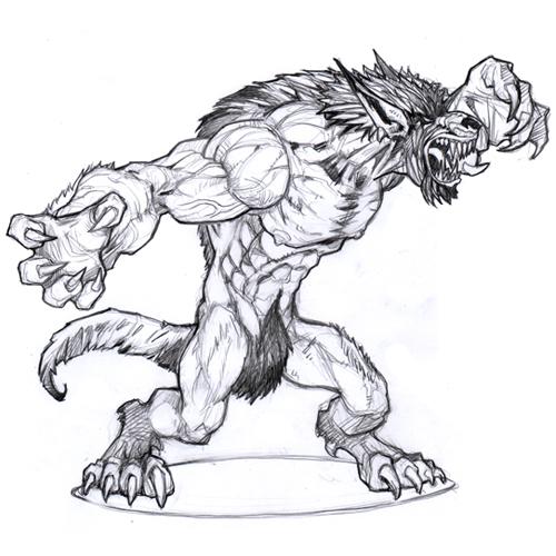 Drawn werewolf 28mm Concepts  Werewolf for of