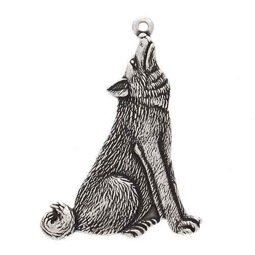 Drawn werewolf 28mm Moon Pendant Wolf Antiqued Wolf