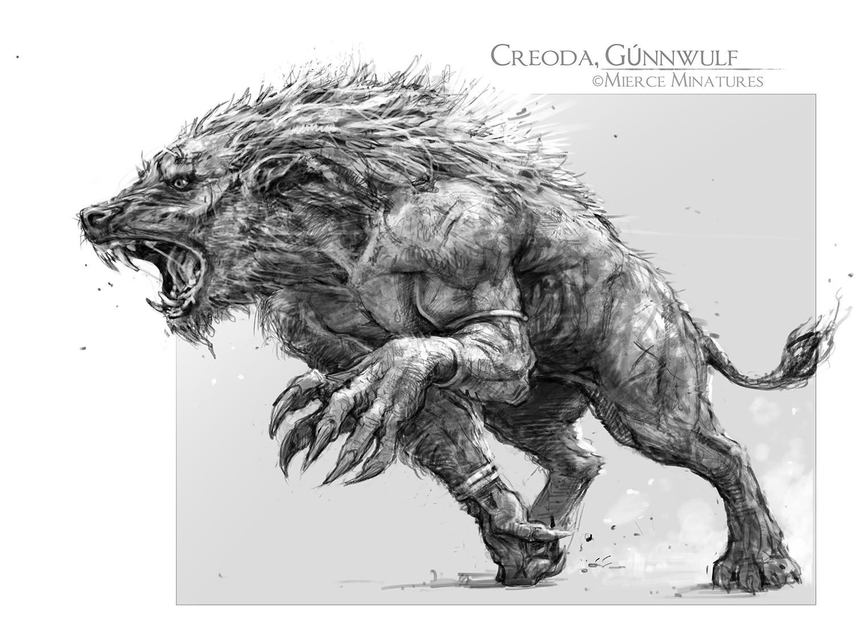 Drawn werewolf 28mm • big really Creoda Colors