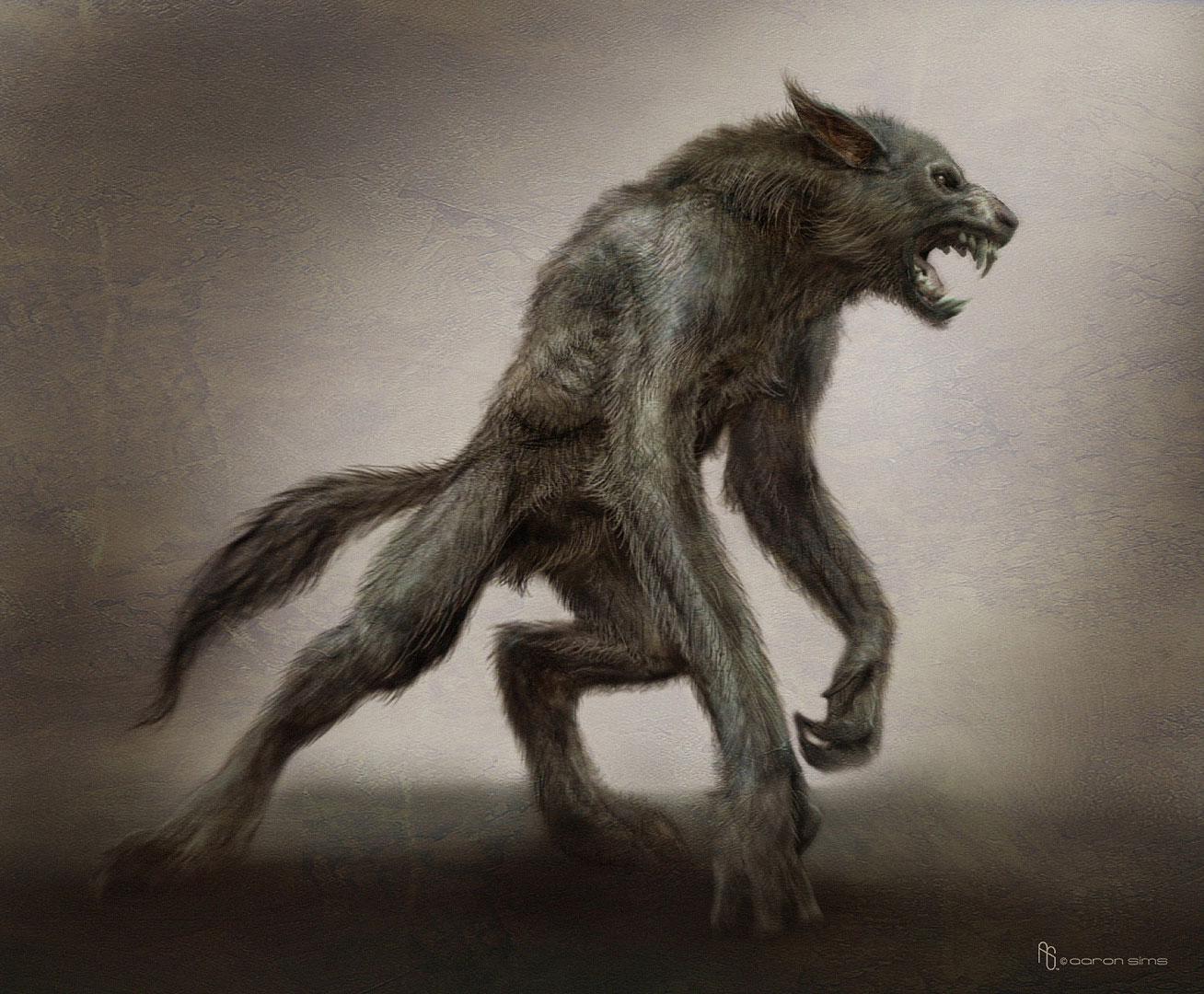 Drawn werewolf all fours