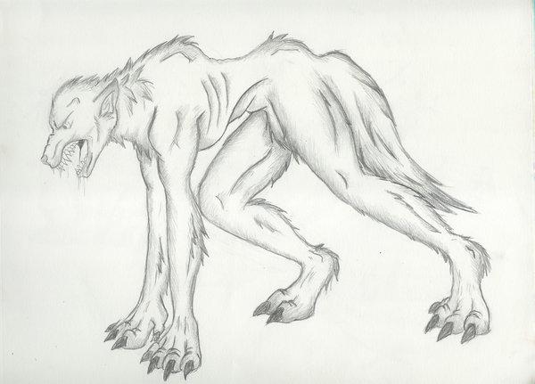 Drawn werewolf all fours All on Boos Werewolf on
