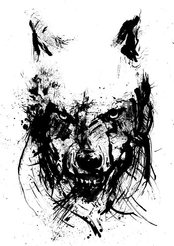 Drawn raven ink splatter Wolf Angry Black Drawing Art