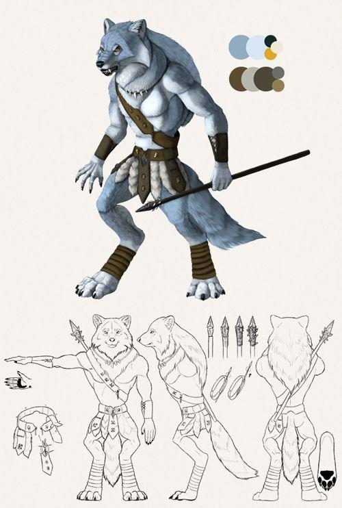 Drawn werewolf character model Sheet Painting a Adobe best