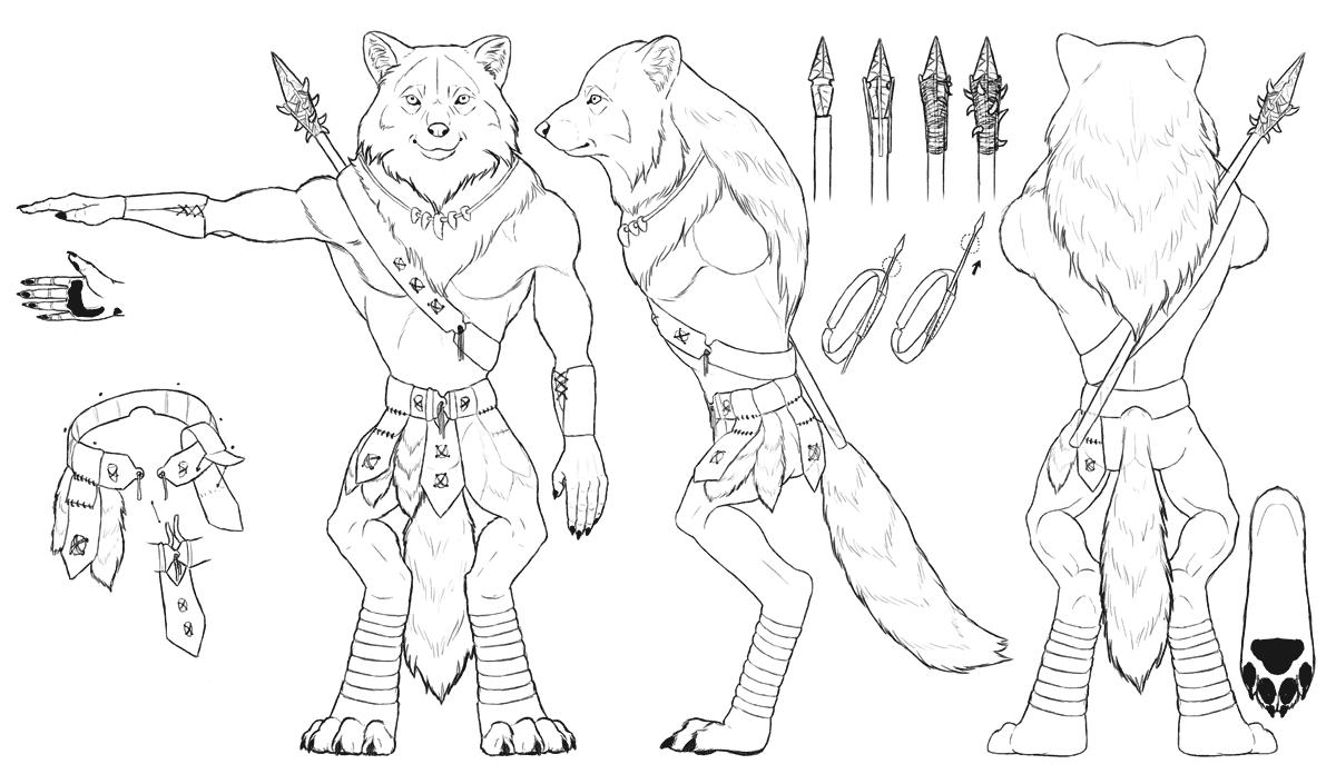 Drawn werewolf character model And Warrior Attachment a Werewolf