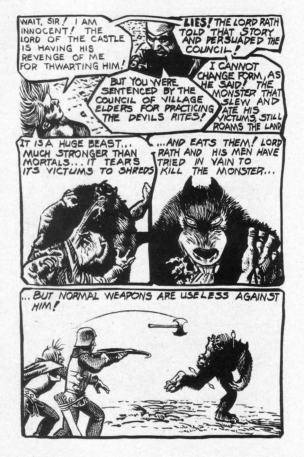 Drawn werewolf comic Corben's Jungle werewolf comic reminiscent