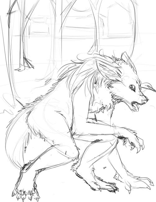 Drawn werewolf female werewolf Werewolf Fringecrow by Commission Werewolf