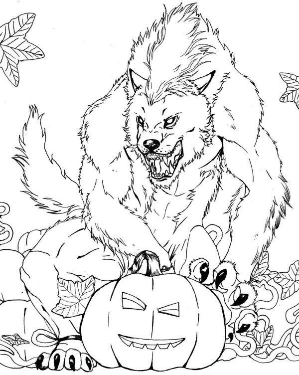 Drawn werewolf halloween Pages images Werewolf Coloring Pinterest