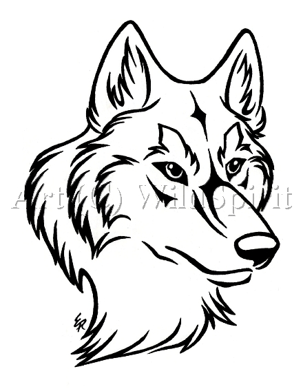 White Wolf clipart stencil art Tattoo head prints OPLOZ wolf