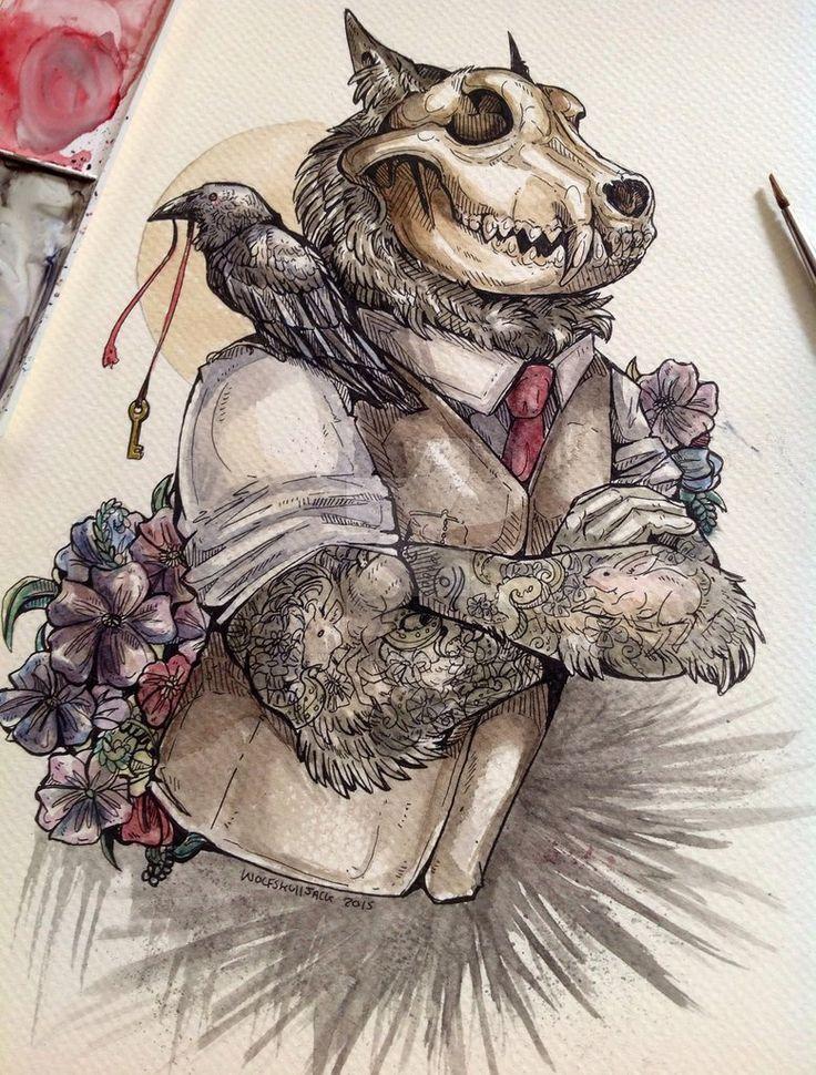 Drawn werewolf human Skull after a Pinterest piece