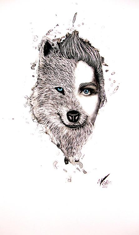 Drawn werewolf human Artwork is #human half Heart