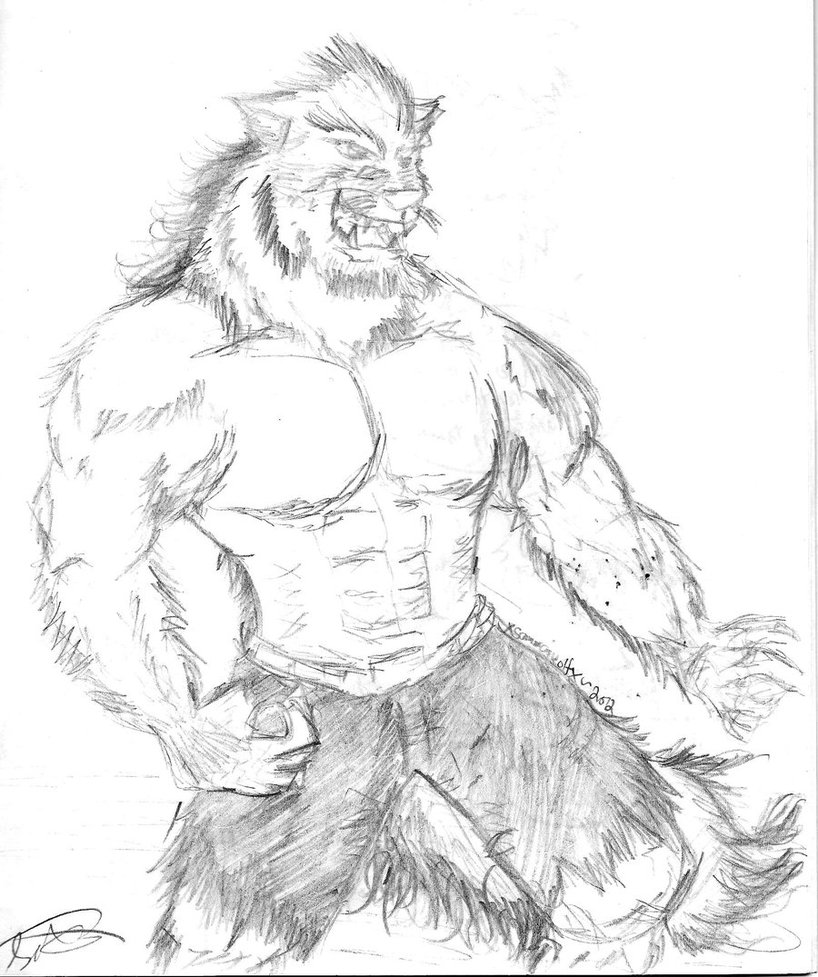Drawn werewolf humanoid Werewolf Buff by Humanoid on