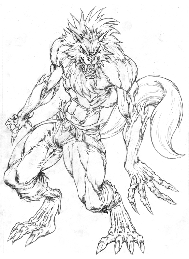Drawn werewolf humanoid Wolf A on wolf by