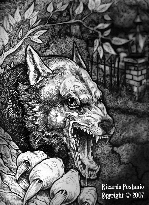 Drawn wolfman irish Beast of Road ARTWORK WEREWOLF