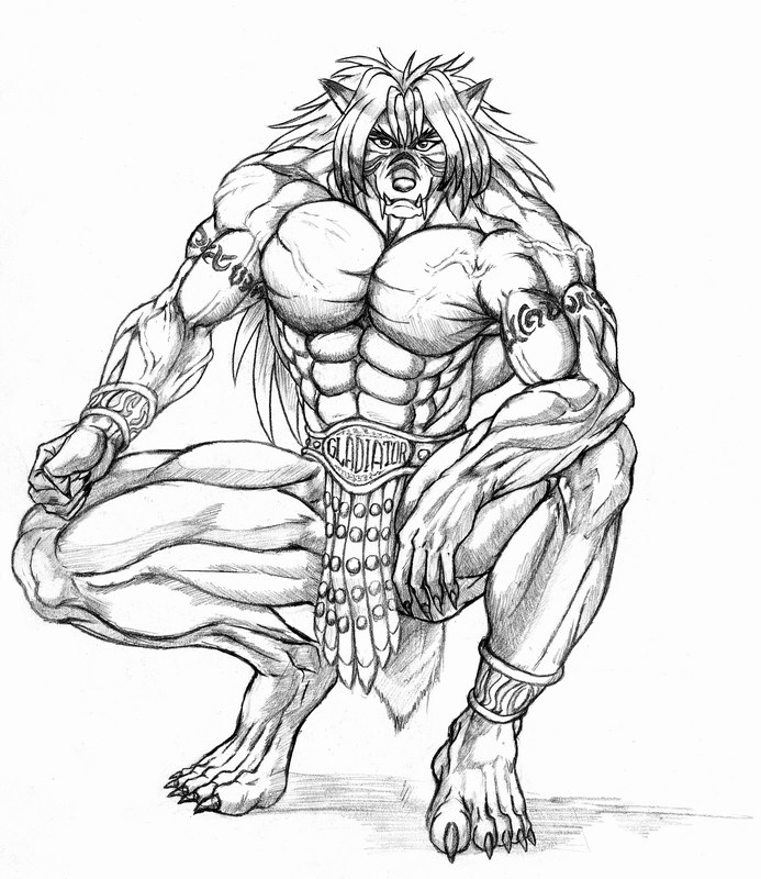 Drawn werewolf muscle Smart monsters The race tall