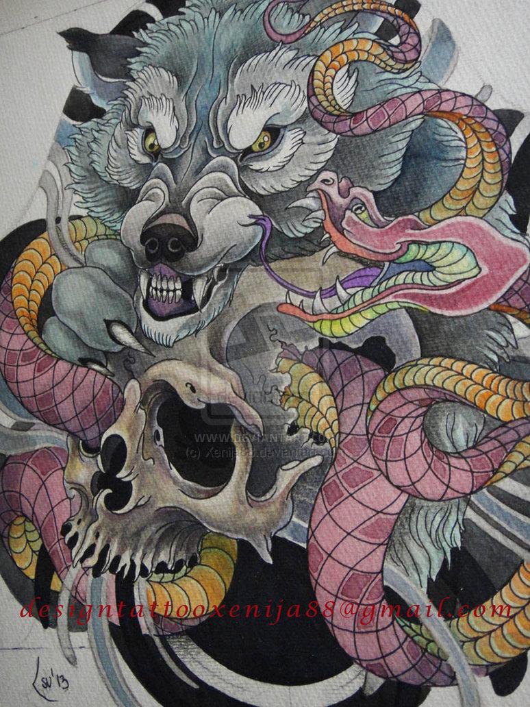 Drawn werewolf snake head Wolf Xenija88  snake design