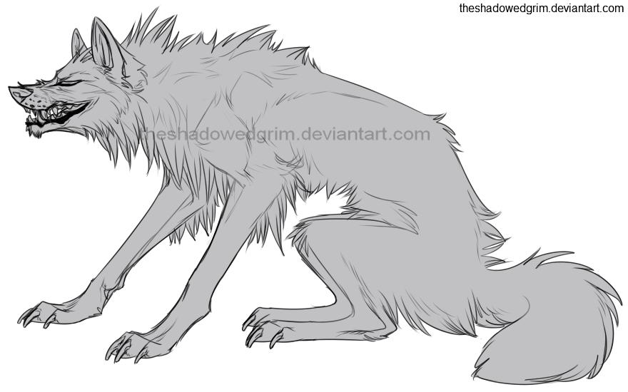 Drawn werewolf snarling wolf Lines snarl snarl 577 on