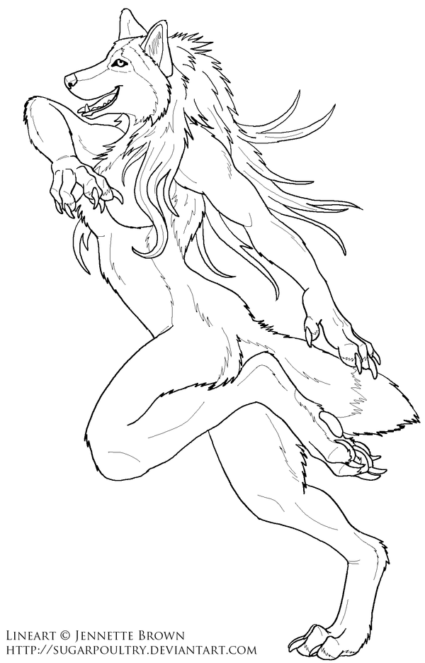 Drawn wolfman line art Female by com  Lineart