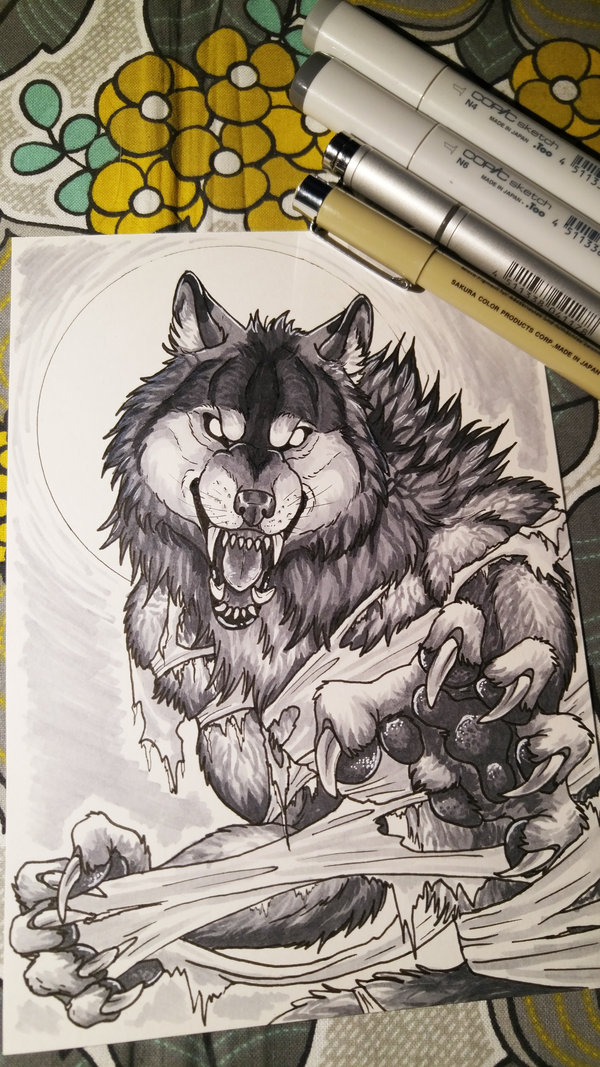 Drawn werewolf sugarpoultry Snarly Copic on by Copic