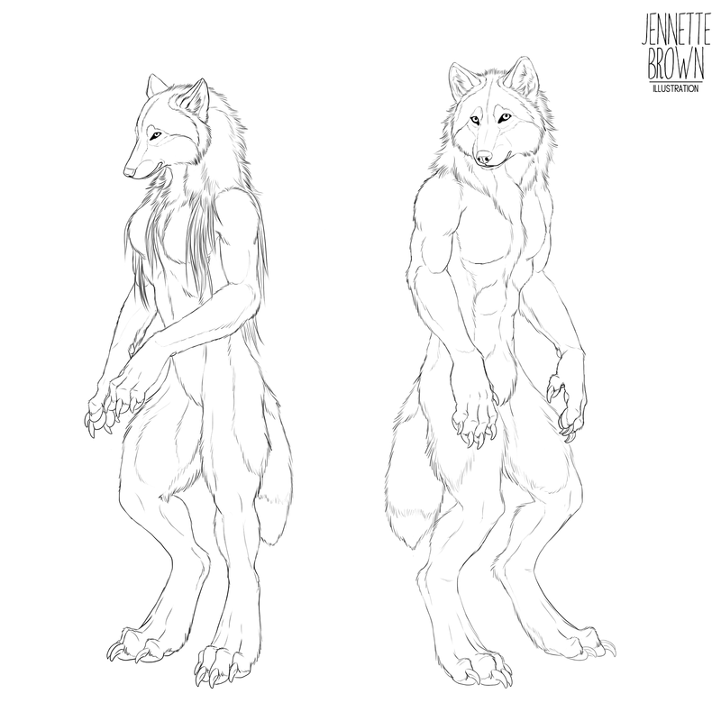 Drawn wolfman sugarpoultry Lineart Female archive by sugarpoultry