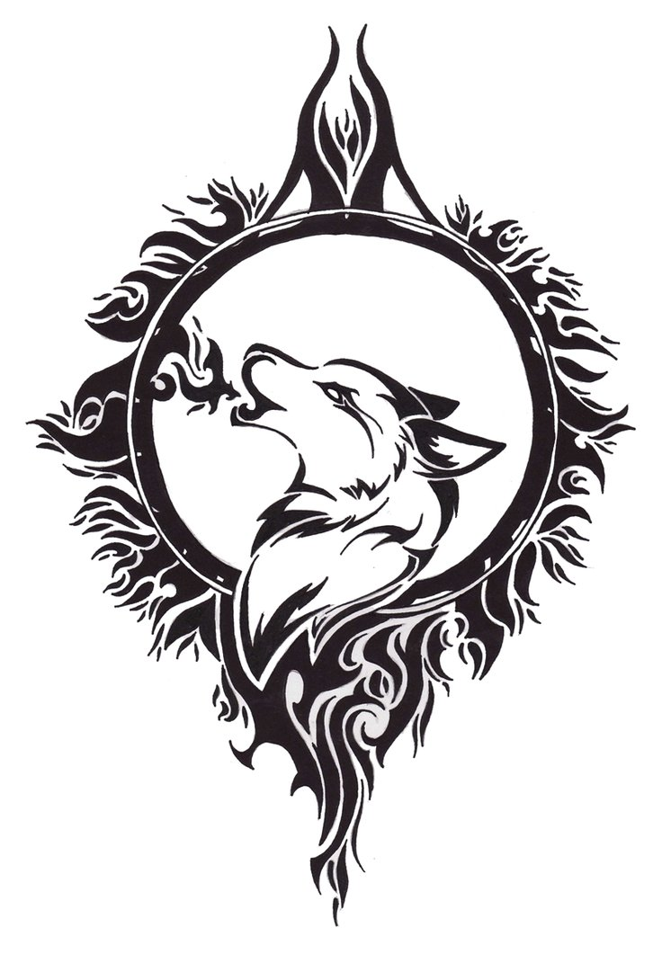 Drawn howling wolf tribal love On Angel  Deviantart By
