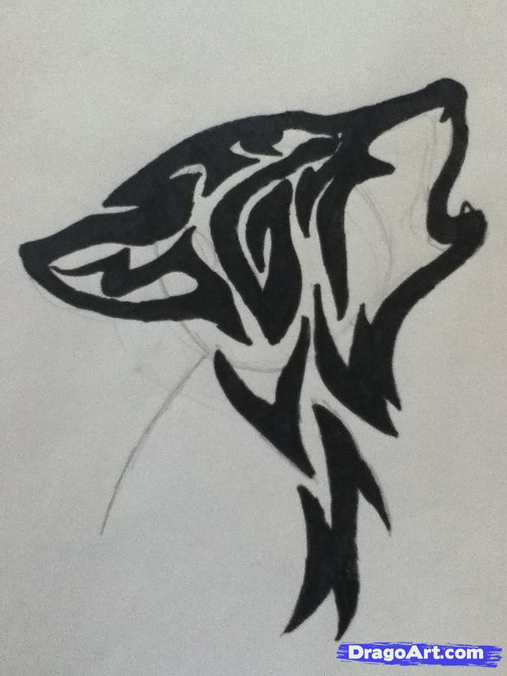 Drawn howling wolf tribal wolf Pop a step How draw