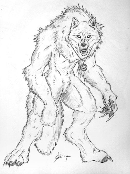 Drawn werewolf warrior Hunter Jerrin white WOLF BLACK