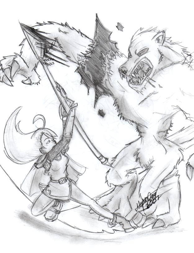Drawn werewolf warrior And Warrior The Cat on