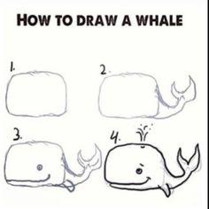 Drawn whale little Whale Ocean Simple Cute by