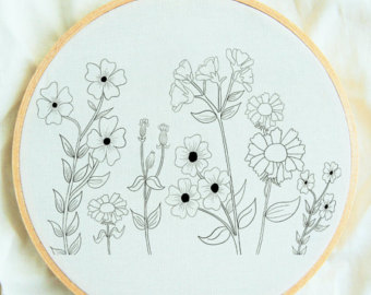 Drawn wildflower beginner Pattern Pattern: Beginner Embroidery Embroidery