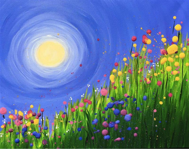 Drawn wildflower beginner Sun idea swirled wildflowers painting