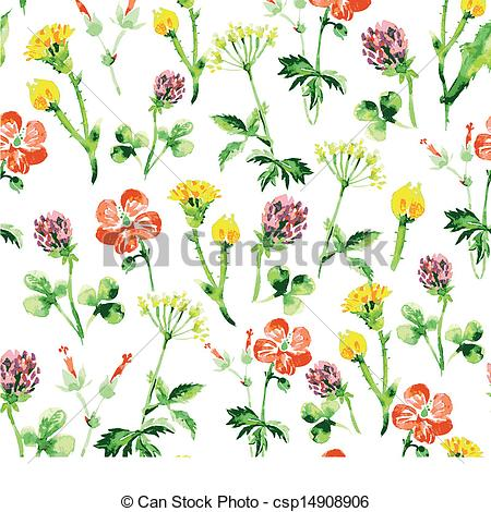 Wildflower clipart small plant Watercolor with wildflowers Watercolor Vintage