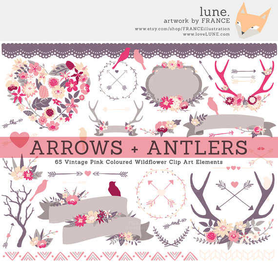 Arrow clipart shabby chic And  LUNE Antlers SETS