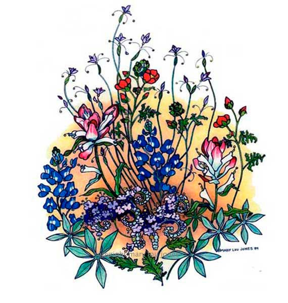 Wildflower clipart texas Items 5 Spring flower print