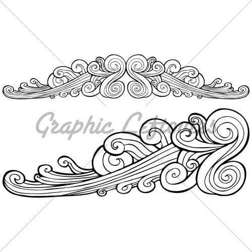 Drawn wind Banner Hand Detailed Stock Cloud