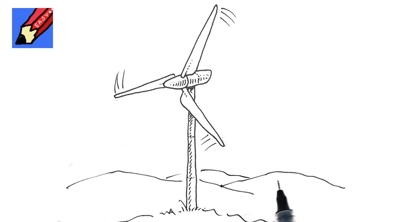 Drawn windmill old Draw Easy How Turbine YouTube