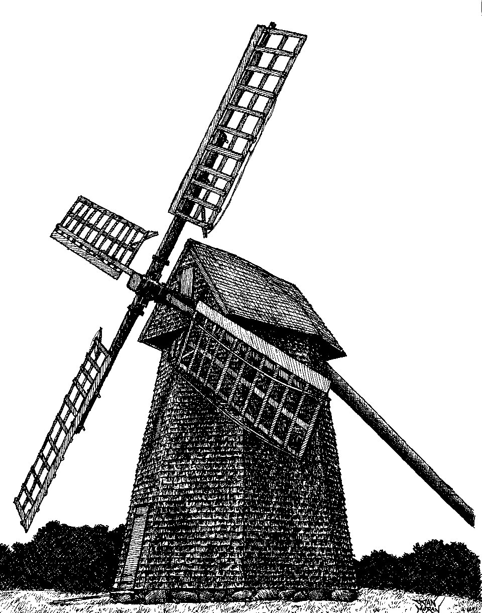 Drawn windmill old Wheelhouse of  Windmill Dan